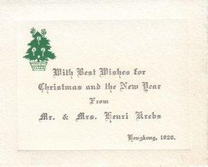 CHINA (Hong Kong) , Christmas Greetings , 1920