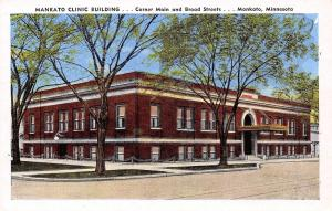 Mankato Minnesota~Main & Broad Street Clinic Building~1940s Linen Postcard
