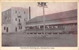 Clarksville Iowa~Clarksville Canning Co~Wagon in Front~1920s Postcard