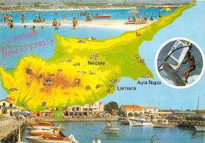 B96524 greetings from cyprus map cartes geographiques larnaca ayia napa