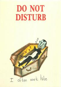 Vampire coffin do not disturb I often work late comic postcard
