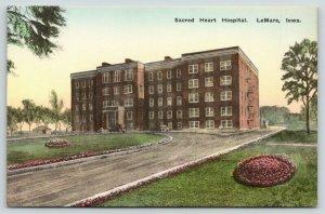 LeMars Iowa~Sacred Heart Hospital~1920s Hand-Colored Albertype Postcard