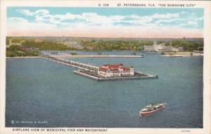 Florida St Petersburg Airplane View Of Municipal Pier and Waterfront Curteich