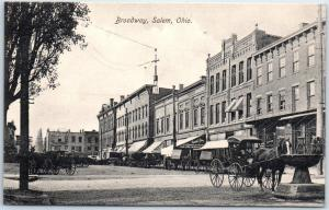 Salem, Ohio Postcard BROADWAY Downtown Street Scene Horses Stores c1910s Unused