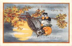 Halloween Postcard Old Vintage Post Card Owl, Pumpkin Kid Mechanical pop out ...