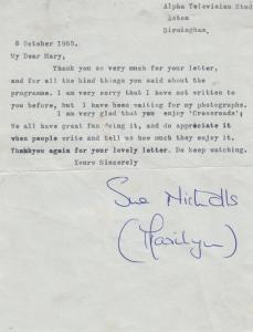 Sue Nicholls Coronation Street from CROSSROADS 1965 Letter Hand Signed Letter