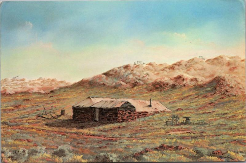 Opal Miner's Hut Andamooka Australia Jack Absalom Art Artist Postcard D46 *As Is