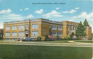 Union High School Bend Oregon OR Linen Postcard