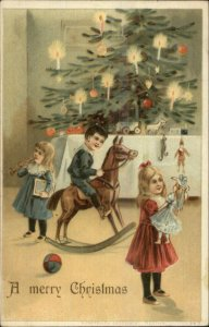 Christmas - Children New Toys Tree - Doll Rocking Horse Horn c1910 Postcard