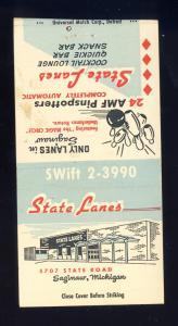 Saginaw, Michigan/MI Matchcover, State Lanes, Bowling