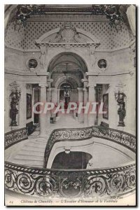 Old Postcard Chateau Chantilly of Honor Staircase and the Vestibule