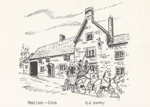Red Lion Crick Pub Northampton Artist Postal Anniversary Postcard