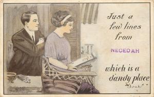 Necedah Wisconsin~Is A Dandy Place~Couple Write~Cigarettes on Table~1912 PC