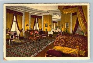 Biltmore NC Bedroom, Biltmore House & Gardens, Linen North Carolina Postcard