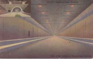 Tunnel on Pennsylvania Turnpike - America's Super Highway - pm 1957 - Linen