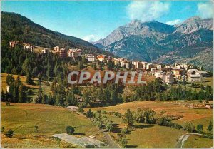 Postcard Modern Sauze d'Oulx 1510 m Panorama with in the back plane Chaberton...