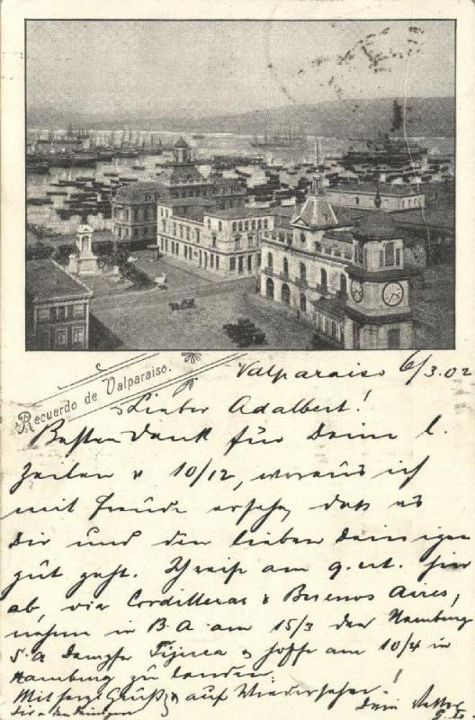 chile, VALPARAISO, Partial View with Harbour (1902) Stamp