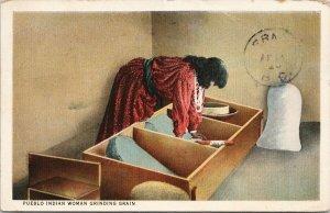 Pueblo Indian Woman Grinding Grain Native American c1926 RPO Postcard F83