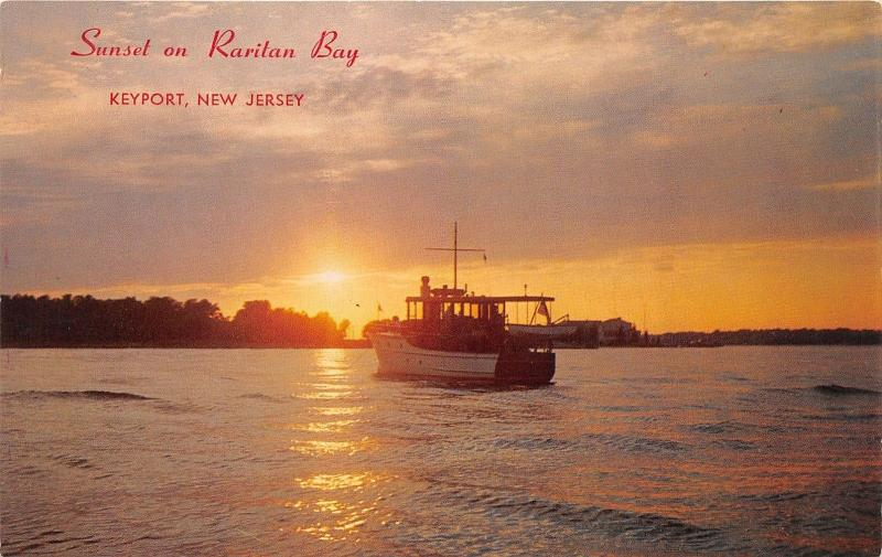 Keyport New Jersey~Fishing? Boat on Raritan Bay @ Sunset~1960s Postcard
