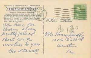 Fish Kingdom Seen Through Glass Bottom Boat Silver Springs Florida 1946 Postcard