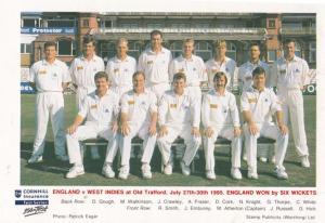 England Vs West Indies 1995 Victory Celebration Cricket Souvenir Postcard