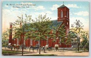 Michigan City Indiana~St Mary's Catholic Church~Parsonage~Horse Buggies~1910