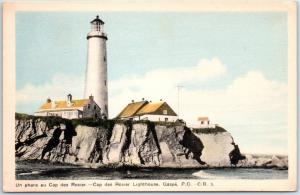 Gaspe, Quebec Canada Postcard Cap-des-Rosiers Lighthouse View c1940s Unused
