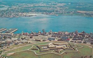 HALIFAX, Nova Scotia, 50-60s; Aerial View of THE CITADEL, Old Fort, Harbour