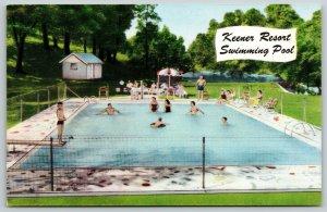 Williamsport MO Drawn People in Swimming Pool of Keener Resort 1950s Postcard