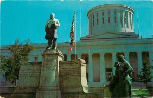 Columbus OH~Ohio State Capitol~Greek Revival~Wm McKinley Monument~1950s Postcard