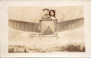 RARE - Fantasy Airship ~Boy & Girl Plane ~ Real Photo - RPPC - POSTCARD
