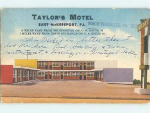 Linen TAYLOR'S MOTEL East Mckeesport Pennsylvania PA M6152