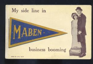 FELT PENNANT MABEN WEST VIRGINIA LOVERS SALESMAN VINTAGE POSTCARD WESTON