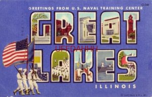 GREETINGS FROM U.S. NAVAL TRAINING CENTER, GREAT LAKES, ILLINOIS. 1951