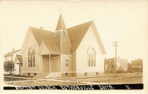 Estherville IA~Nice, Short Interior Steeple on Baptist Church~Sepia RPPC c1919
