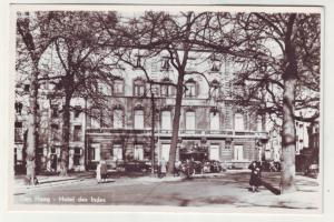 P1063 vintage RPPC Hotel Des Indes is a landmark in The Netherlands, old cars