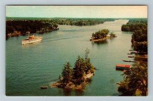 Thousand Islands NY-New York, International Bridge, Panorama, Chrome Postcard
