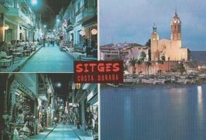 Sitges Costa Dorada Spain at Night Market Shops Restaurant Street Scene Postcard