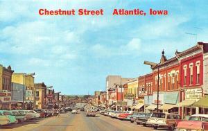 Atlantic IA Chestnut Street Storefronts Old Cars Postcard