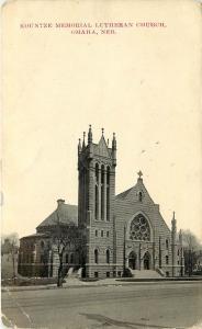 1907-1915 Printed Postcard; Kountze Memorial Lutheran Church Omaha NE Douglas Co