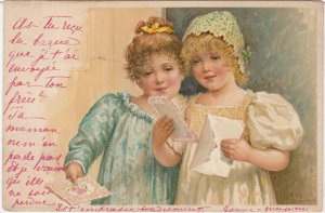 Two girls with Valentine's Day Cards , 1901-07
