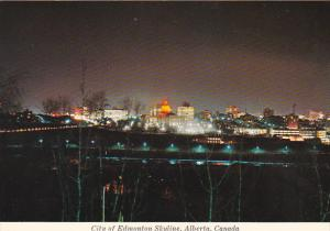 Canada Skyline At Night Edmonton Alberta