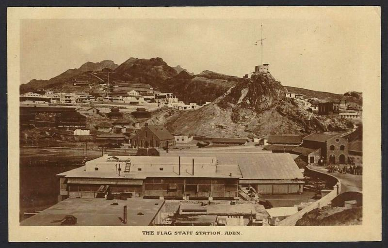 Aden The Flag Staff Station real photo postcard by Dinshaw & Co. c.1910