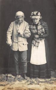 'COUPLE POSING AS OLD FOLKS RPPC REAL PHOTO POSTCARD
