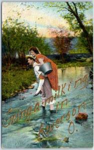 Emerson, Ohio Postcard Going a Milking Girl on Boy's Back in Creek c1910s