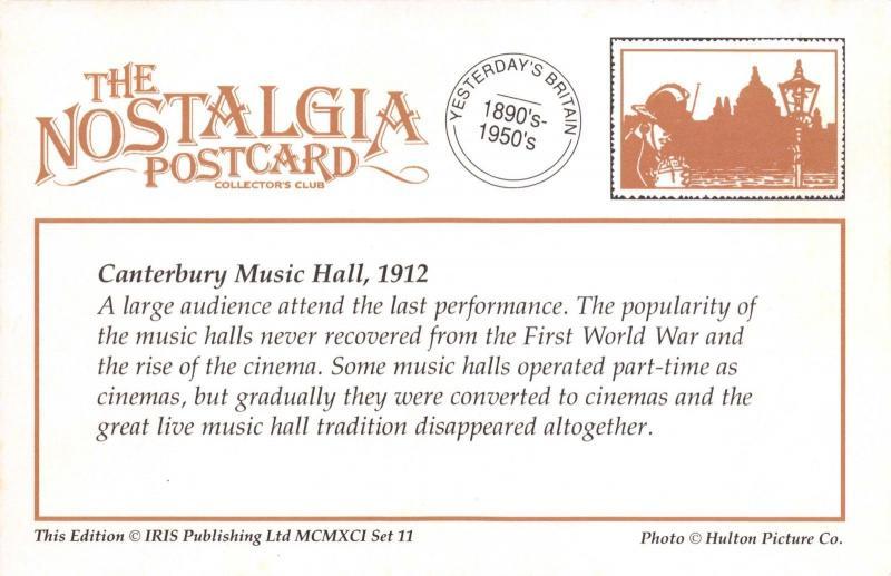 Nostalgia Postcard 1912 Canterbury Music Hall, Kent, Reproduction Card NS11