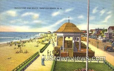 Bandstand & Beach Hampton Beach NH 1946 / HipPostcard