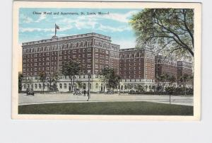 ANTIQUE POSTCARD MISSOURI ST LOUIS CHASE HOTEL AND APARTMENTS EXTERIOR STREET VI