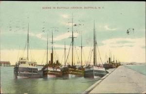 Scene in Buffalo Harbor Buffalo New York boats bateaux