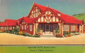 Bigfork Hotel Flathead Lake Bigfork Montana linen postcard